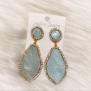 Blue and white stone marble statement earrings
